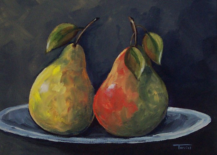Pear Greeting Card featuring the painting The Pears by Torrie Smiley