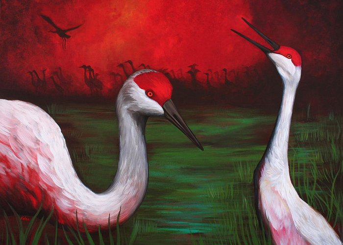 Crane Greeting Card featuring the painting The People by Bonnie Kelso