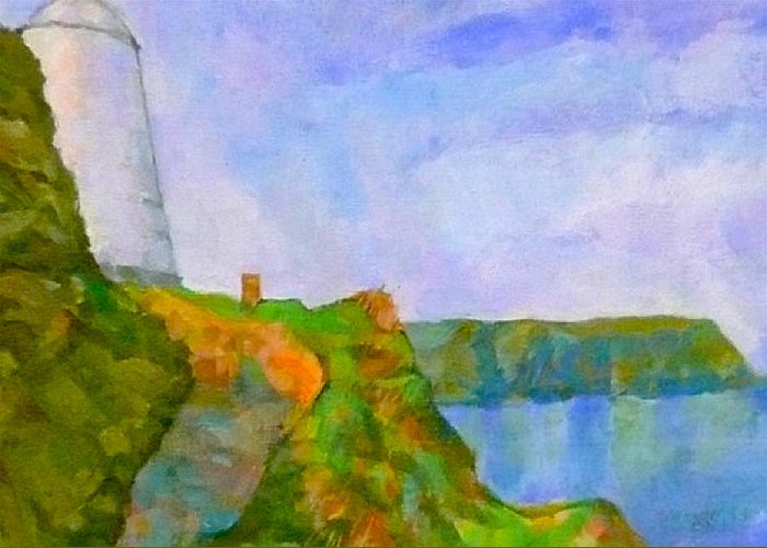Pepper Pot Portreath Cornwall Greeting Card featuring the digital art The Pepper Pot by Scott Waters