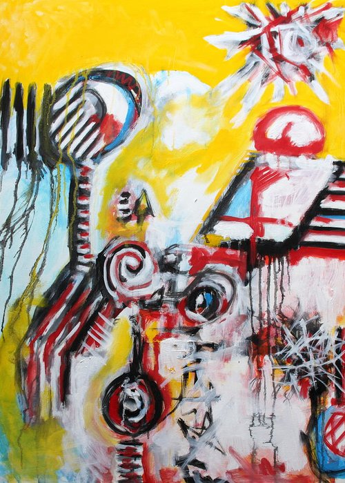 Abstract Greeting Card featuring the painting The Percussionist by Michael Henderson