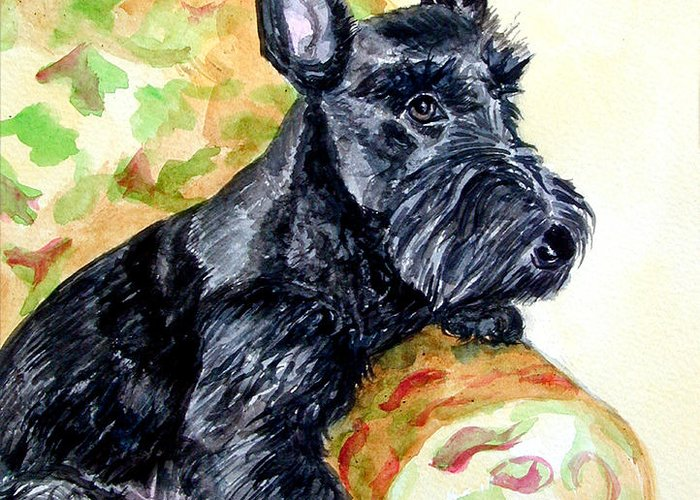 Scottish Terrier Greeting Card featuring the painting The Perfect Guest - Scottish Terrier by Lyn Cook