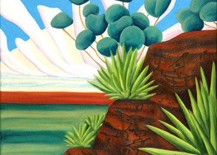 Landscape Greeting Card featuring the painting The Petroglyphs by Lynn Soehner