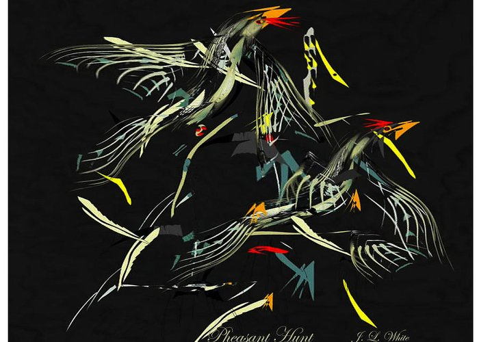 Game Birds In Startled Flight. Greeting Card featuring the digital art The Pheasant Hunt by Jerry White