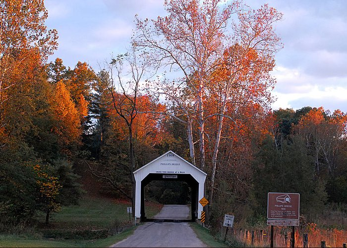 Landscape Greeting Card featuring the photograph The Phillips Covered Bridge by John McAllister