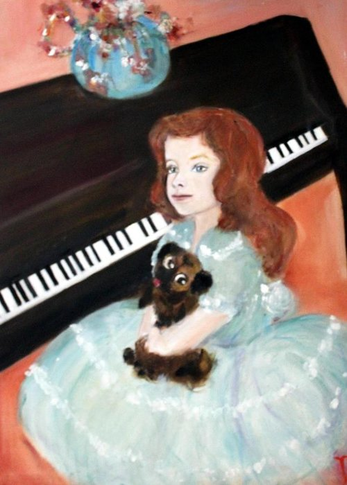 Piano Greeting Card featuring the painting The Pianist And Her Pekinese by Michela Akers