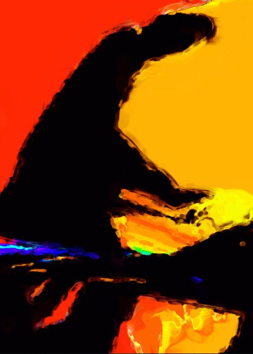 Abstract Greeting Card featuring the digital art The Pianist by Richard Rizzo