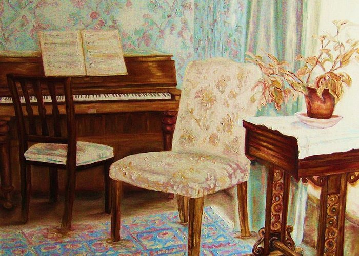 Iimpressionism Greeting Card featuring the painting The Piano Room by Carole Spandau