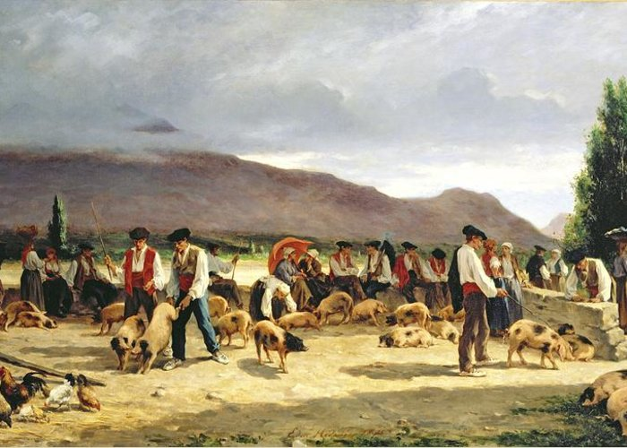 The Greeting Card featuring the painting The Pig Market by Pierre Edmond Alexandre Hedouin