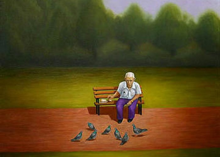 Landscape Greeting Card featuring the painting The Pigeon Man Of Forest Park by Stephen Degan