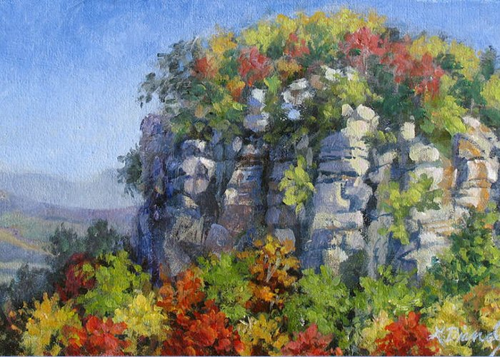Mountains Greeting Card featuring the painting The Pilot - Pilot Mountain by L Diane Johnson