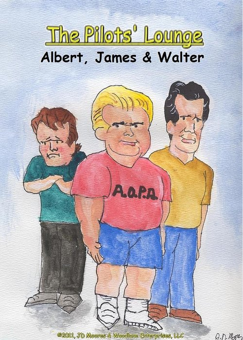 Watercolor Greeting Card featuring the mixed media The Pilots Lounge Cartoon Characters by JD Moores