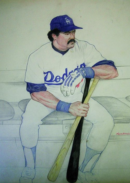 Baseball Greeting Card featuring the drawing The Pinch Hitter by Nigel Wynter