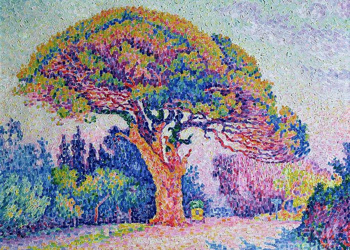 The Pine Tree At St. Tropez Greeting Card featuring the painting The Pine Tree At Saint Tropez by Paul Signac
