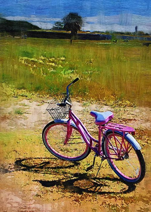 Greeting Card featuring the photograph The Pink Bike by Donna Bentley