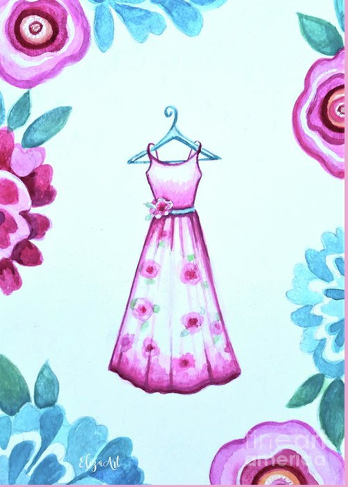 Pink Greeting Card featuring the painting The Pink Floral Dress by Elizabeth Robinette Tyndall