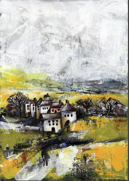 Landscape Greeting Card featuring the painting The Pink House by Aniko Hencz