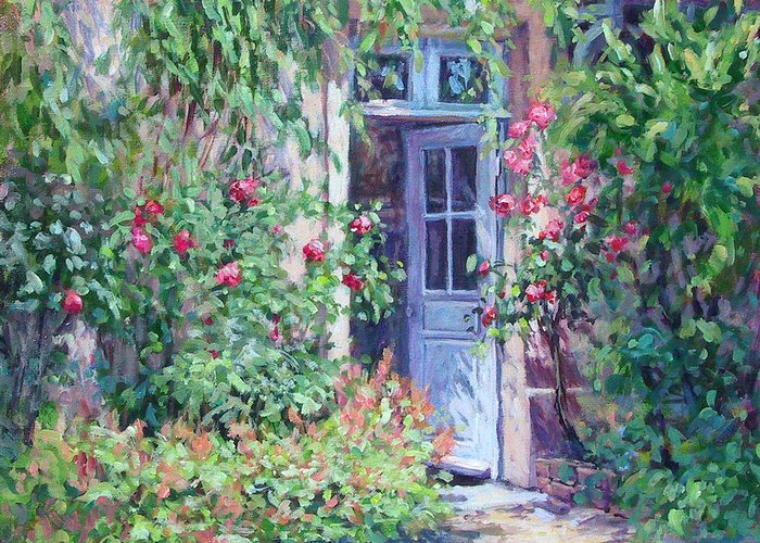 Giverny France Greeting Card featuring the painting The Pink House by L Diane Johnson