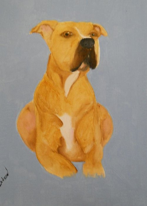 Dog Greeting Card featuring the painting The Pit Bull by Joette Watson