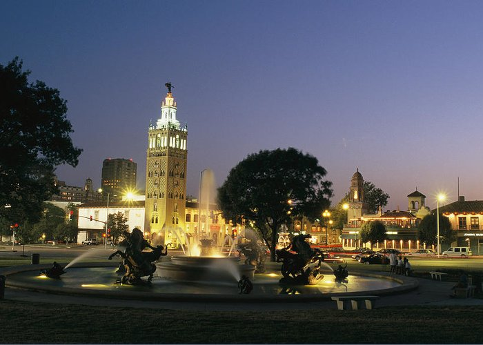 North America Greeting Card featuring the photograph The Plaza In Kansas City, Mo, At Night by Michael S. Lewis