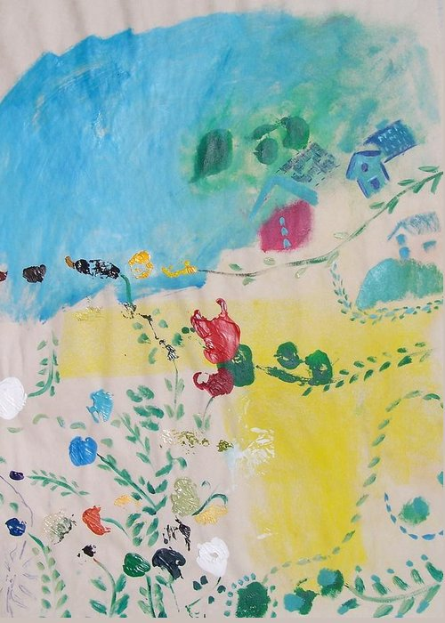 Flowers Greeting Card featuring the painting the Poetics of a clear day by Geraldine Liquidano