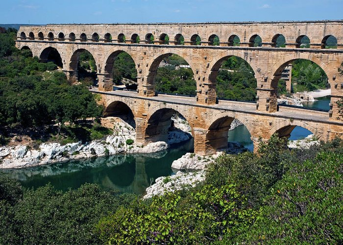 Ancient Greeting Card featuring the photograph The Pont Du Gard by Sami Sarkis