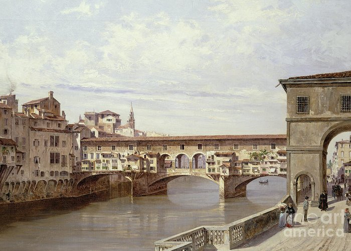 The Greeting Card featuring the painting The Pontevecchio - Florence by Antonietta Brandeis
