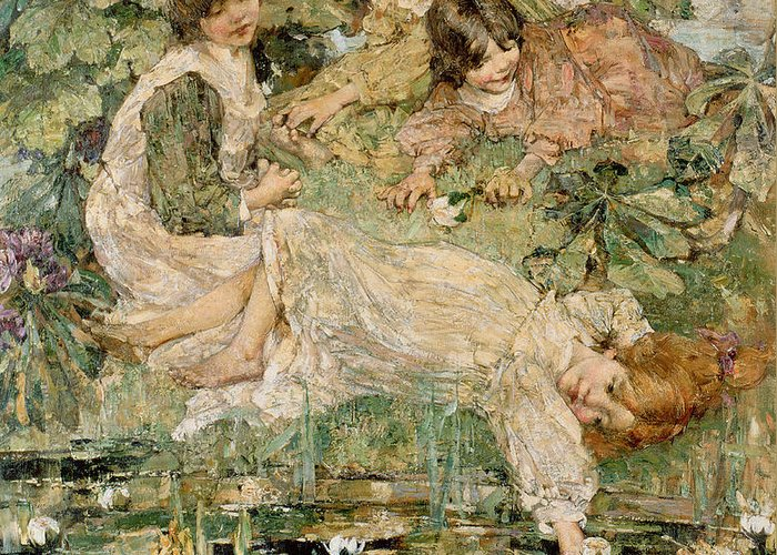 The Greeting Card featuring the painting The Pool by Edward Atkinson Hornel