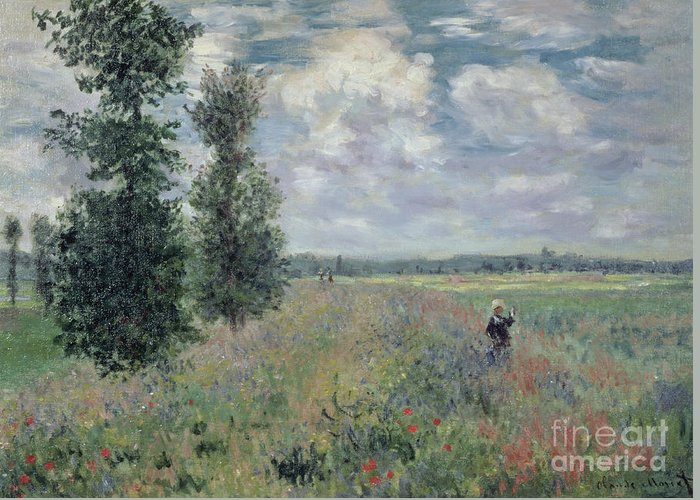 The Greeting Card featuring the painting The Poppy Field by Claude Monet