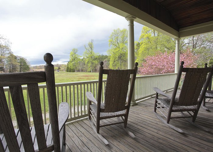 Rocking Chairs Greeting Card featuring the photograph The Porch by Steve Gravano