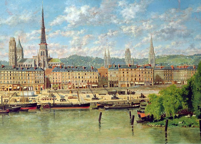 Port Greeting Card featuring the painting The Port At Rouen by Torello Ancillotti