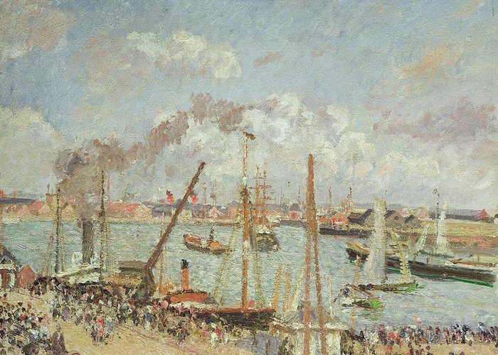 The Greeting Card featuring the painting The Port Of Le Havre In The Afternoon Sun by Camille Pissarro