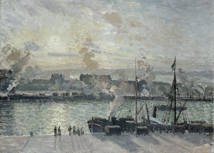 Sunset Greeting Card featuring the painting The Port Of Rouen by Camille Pissarro