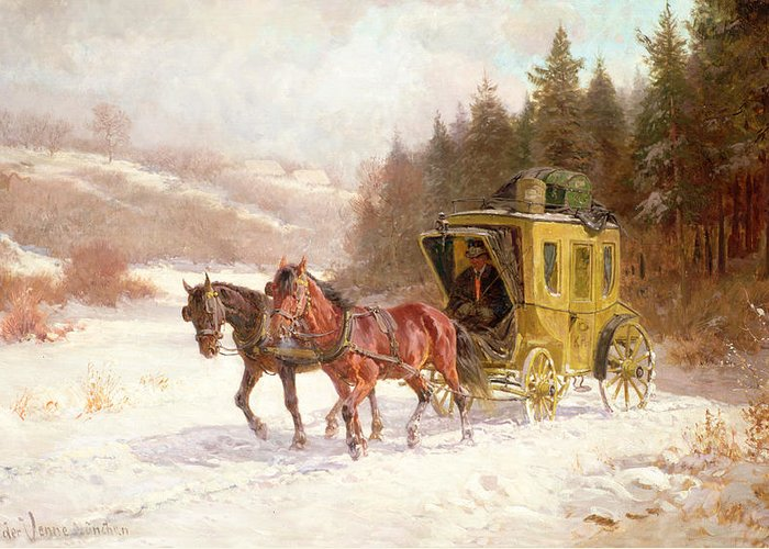 The Greeting Card featuring the painting The Post Coach In The Snow by Fritz van der Venne