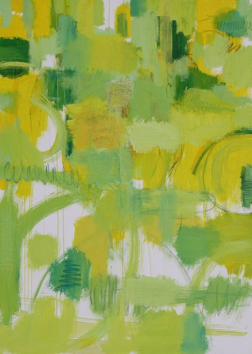 Abstract Greeting Card featuring the painting The Power Of Green by Habib Ayat