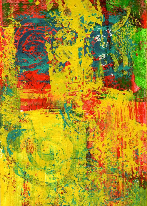 Abstract Greeting Card featuring the painting The Power Within by Wayne Potrafka
