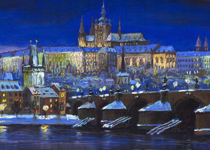 Prague Greeting Card featuring the painting The Prague Panorama by Yuriy Shevchuk