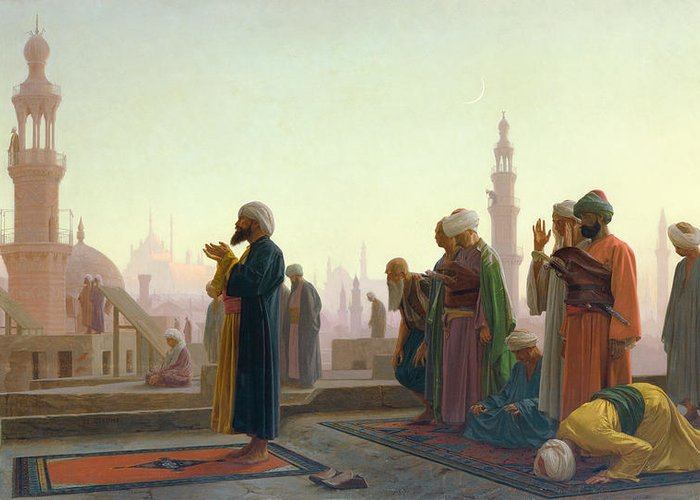 The Greeting Card featuring the painting The Prayer by Jean Leon Gerome