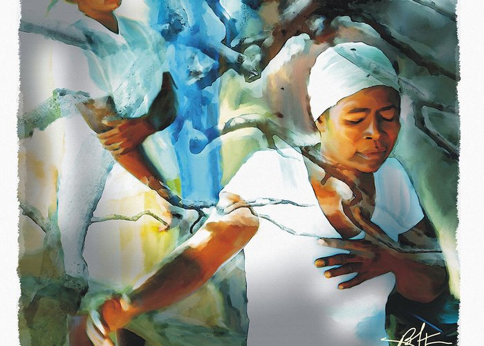 Haiti Greeting Card featuring the painting The Prayer Tree Haiti by Bob Salo