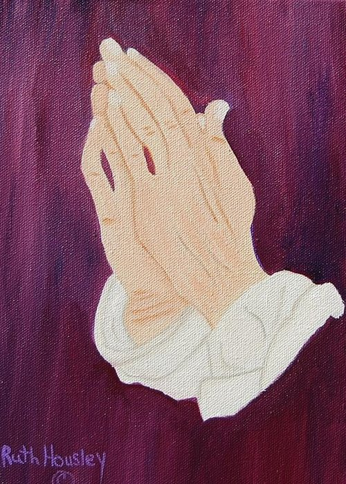 Original Oil Painting Greeting Card featuring the painting The Praying Hands by Ruth Housley