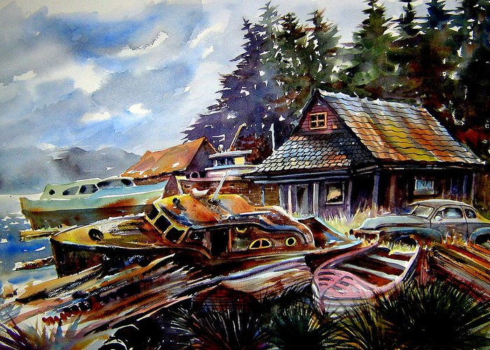 Boats Greeting Card featuring the painting The Preserve Of Captain Flood by Ron Morrison
