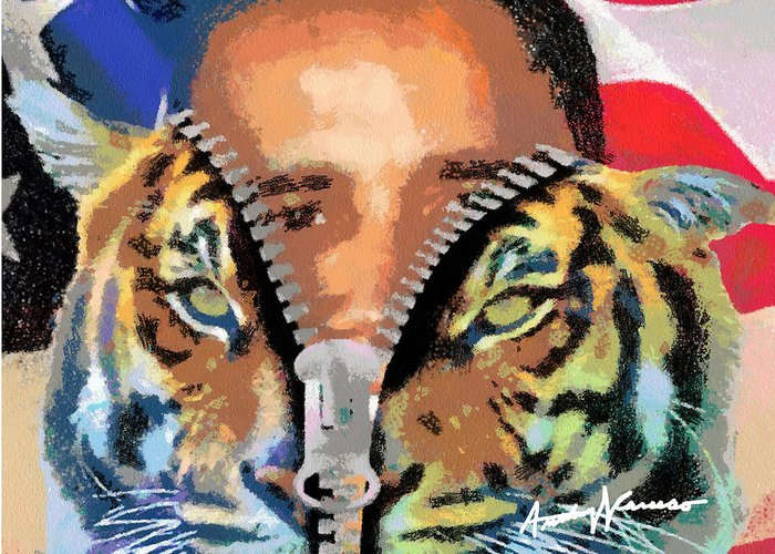 President Greeting Card featuring the digital art The Prez by Anthony Caruso