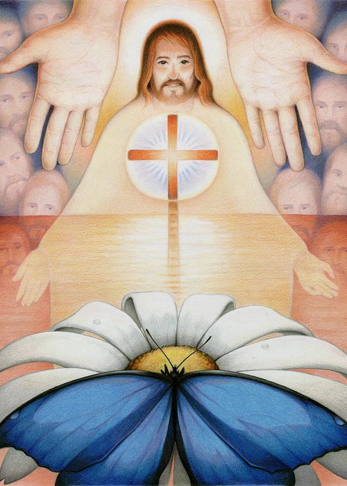 Jesus Greeting Card featuring the drawing The Price And The Promise by Amy S Turner