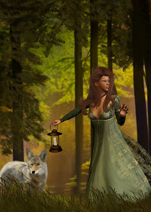 Princess Greeting Card featuring the painting The Princess And The Wolf by Emma Alvarez