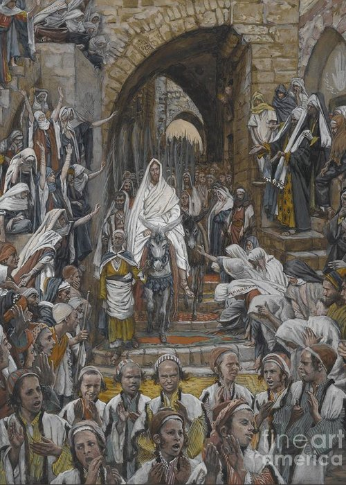 Tissot Greeting Card featuring the painting The Procession In The Streets Of Jerusalem by Tissot