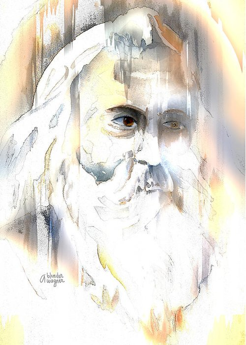 Old Man Greeting Card featuring the mixed media The Prophet by Arline Wagner