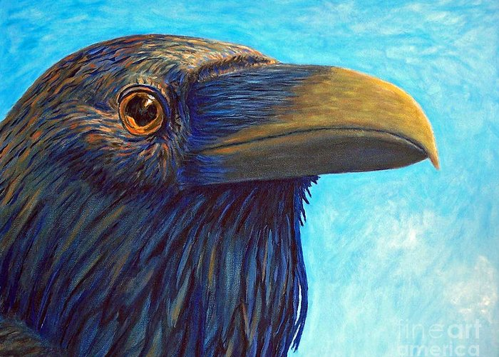 Raven Greeting Card featuring the painting The Prophet by Brian Commerford
