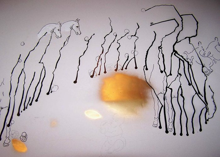 Horses Greeting Card featuring the drawing The Protective Horses by Geraldine Liquidano