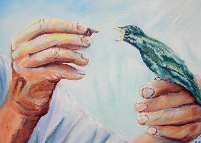Contemporary Greeting Card featuring the painting The Provider by Renee Dumont Museum Quality Oil Paintings Dumont