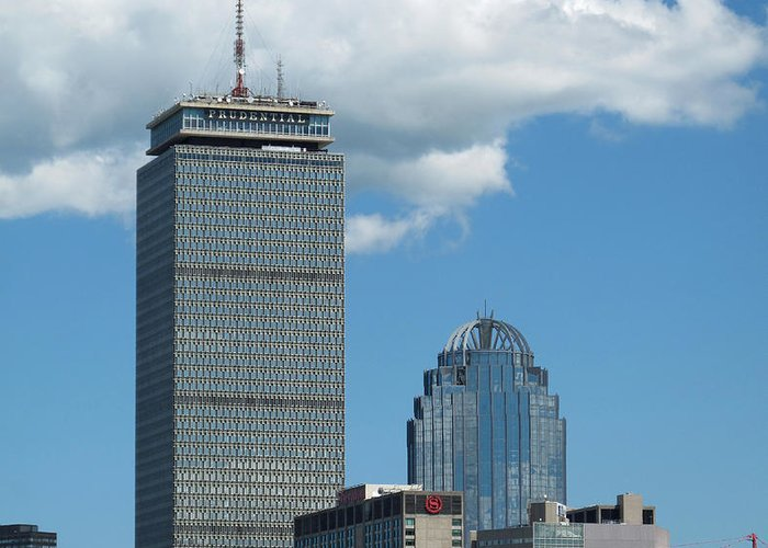 Prudential Greeting Card featuring the photograph The Pru by Barbara McDevitt