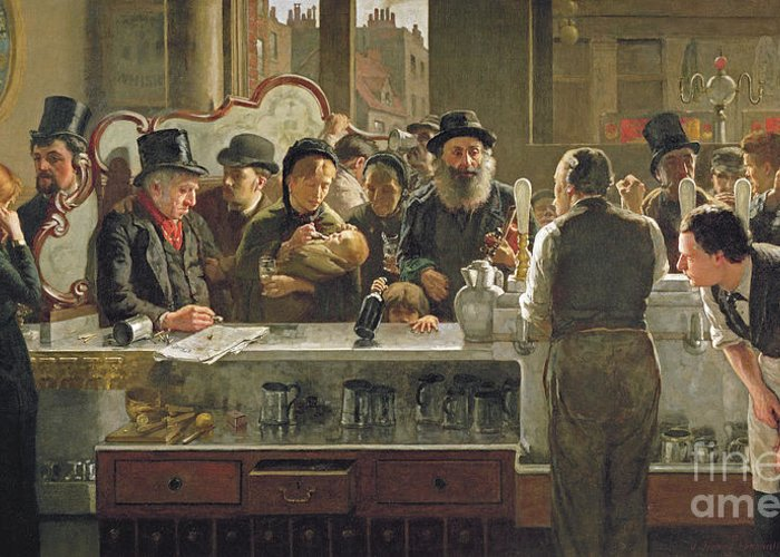 Drinking;drink;social;pub;landlord;barman;barmen Greeting Card featuring the painting The Public Bar by John Henry Henshall